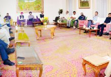 Lieutenant Governor Girish Chandra Murmu chairing a meeting in Jammu on Thursday.