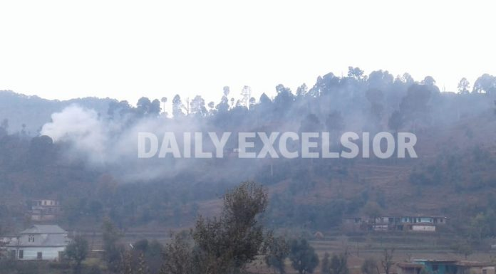 A mortar explodes in KG sector of Poonch on Friday. -Excelsior/Rahi Kapoor