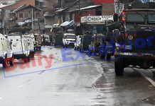 Troops at the site of a militant attack in Bijbehara, Anantnag on Tuesday. -Excelsior/Sajad Dar