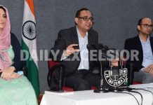 Govt spokesman Rohit Kansal addressing a press conference in Jammu on Friday.
