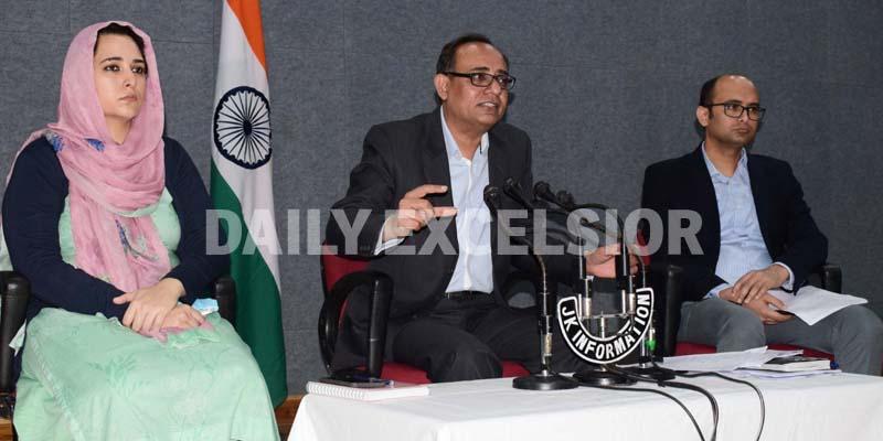 Govt spokesman Rohit Kansal addressing a press conference in Jammu on Friday.