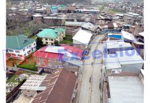 An aerial view of Baramulla town during lockdown. -Excelsior/Aabid Nabi