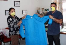 Protective gown being displayed at JKP Welfare Centre in Jammu.