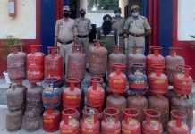 Man arrested with LPG cylinders by Bishnah Police.