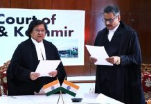 Chief Justice Gita Mittal administering oath as Judge of J&K HC to Rajnesh Oswal on Thursday.