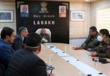 Lt Governor R K Mathur chairing a meeting to discuss COVID-19 situation in Ladakh.