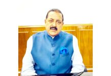 Union Minister Dr Jitendra Singh speaking to media through video conference,  at New Delhi on Monday.