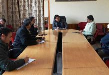 CEC LAHDC Leh, Gyal P.Wangyal chairing meeting to review essential supplies in Leh.