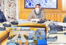 Divisional Commissioner Kashmir P K Pole chairing a meeting.