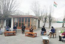 CEC LAHDC, Leh Gyal P. Wangyal along with Dy Chairman Tsering Sandup chairing a meeting.