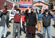 Parents of students stranded in Rajasthan, protesting in Srinagar on Saturday. -Excelsior/Shakeel