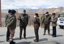 IGP UT of Ladakh Satish Khandare along with other officers reviewing security arrangements. -Excelsior/Morup Stanzin