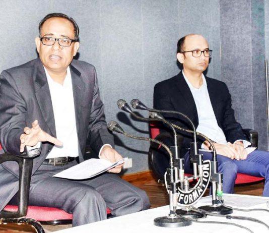 Principal Secretary Information Rohit Kansal addressing press conference.