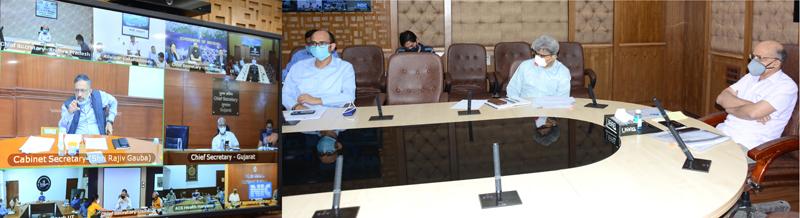 Cabinet Secretary Rajiv Gauba interacting with J&K CS BVR Subrahmanyam through video conference on Thursday.
