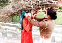 A female cop helps woman carry firewood in Samba during lockdown on Wednesday. -Excelsior/ Gautam