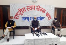RSS leaders at a press conference at Jammu on Wednesday.