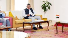 Lt Governor Girish Chandra Murmu presiding over the AC meeting in Jammu on Wednesday.