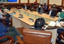 Financial Commissioner Health and Medical Education, Atal Dulloo chairing a meeting at Jammu on Tuesday.