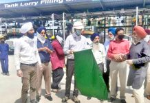 Oil tankers being flagged off for Ladakh from Jammu on Friday.