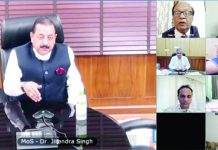 Union Minister Dr Jitendra Singh addressing a video conference meeting to discuss the medical aspects of Corona infection among pensioners and the elderly, at New Delhi on Thursday.