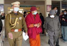 Lt Governor, Ladakh R K Mathur alongwith officers of UT during his visit to COVID-19 Charitable Hospital in Leh on Tuesday.