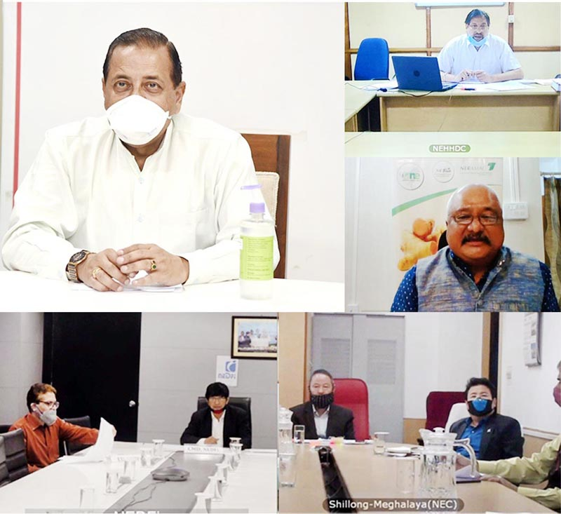 Union Minister Dr Jitendra Singh reviewing the current COVID status and combat measures in Northeast through video conference, on Monday.