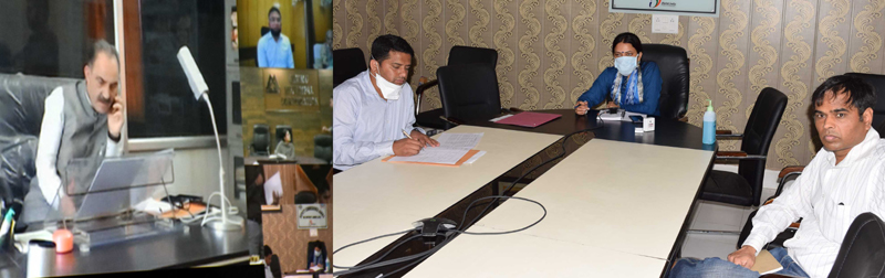 Justice Ali Mohd Magrey chairing a meeting at Jammu on Wednesday.