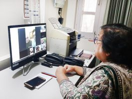 Chief Justice Gita Mittal interacting with senior lawyers through video conferencing on Monday.