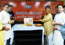 BJP leaders paying tributes to former party chief Daya Krishan Kotwal and RSS leader Chander Kant Sharma at Jammu on Wednesday.