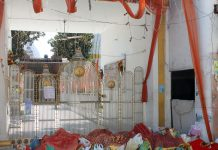 'Saakhs' kept in bags inside a temple by the devotees in Jammu. -Excelsior/Rakesh