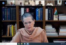 Congress President Sonia Gandhi presiding over CWC meeting over teleconferencing, in New Delhi on Thursday. (UNI)