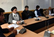 CEC, LAHDC, Kargil Feroz Khan chairing a meeting at Kargil on Wednesday.