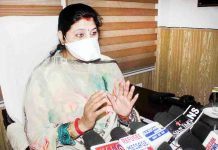 Deputy Mayor, Purnima Sharma addressing a press conference at Jammu on Saturday.