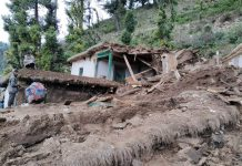 Damaged house blocks in Panchari.