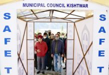 DDC Rajinder Singh Tara inaugurating disinfection tunnel at Municipal Council Kishtwar.