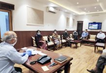 Advisor K K Sharma chairing a meeting at Jammu on Thursday.