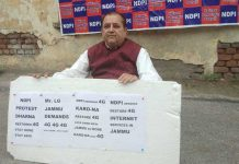 NDPI president, Rajesh Gupta staging protest dharna.