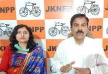 Former Minister and Chairman JKNPP addressing media persons in Jammu.