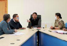 Div Com Ladakh chairing a meeting on Saturday.