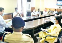 Divisional Commissioner Sanjeev Verma chairing a meeting at Jammu on Friday.