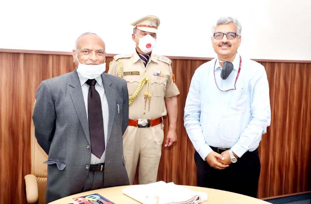 A K Singh CMD, NHPC during a meeting with LG Ladakh R K Mathur at New Delhi on Friday.
