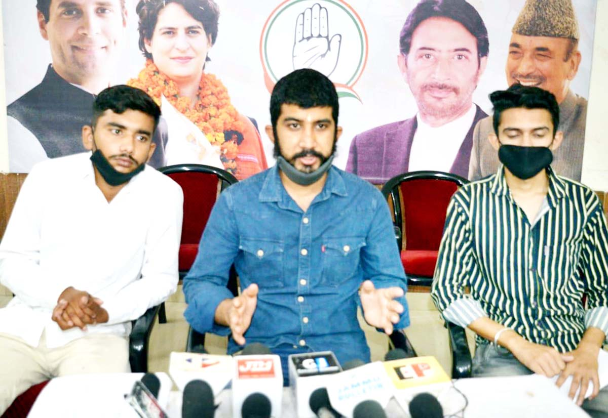 NSUI activists addressing press conference on Friday.
