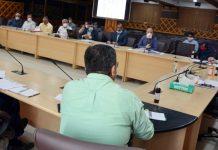 Principal Secretary PDD, Rohit Kansal chairing a meeting at Srinagar on Saturday.