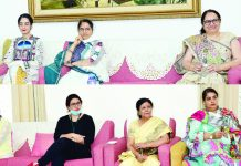 First Lady Dr Smita Murmu interacting with KP women delegation on Saturday.