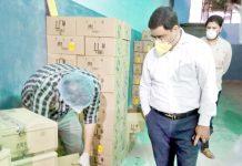 Excise Commissioner RK Shavan during visit to liquor bottling plant in Samba district.