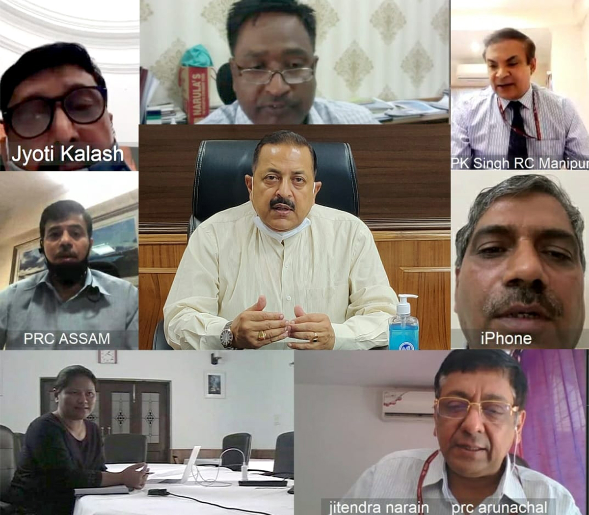 Union Minister Dr Jitendra Singh receiving COVID related feedback, through Video Conference, from Delhi based Resident Commissioners of Jammu & Kashmir and the eight States of Northeast,on Friday.