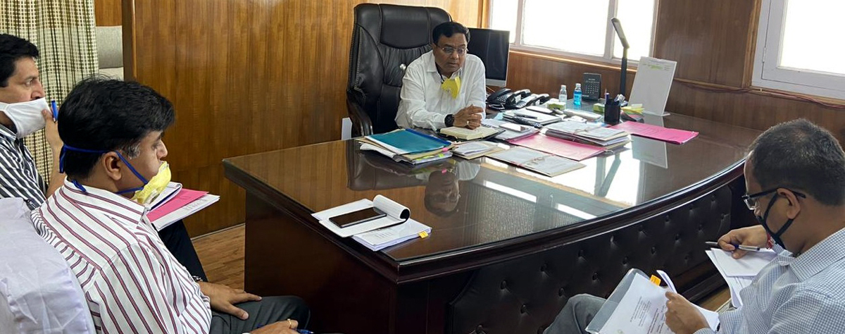 Comm Secy Industries, M K Dwivedi chairing a meeting at Jammu on Wednesday.