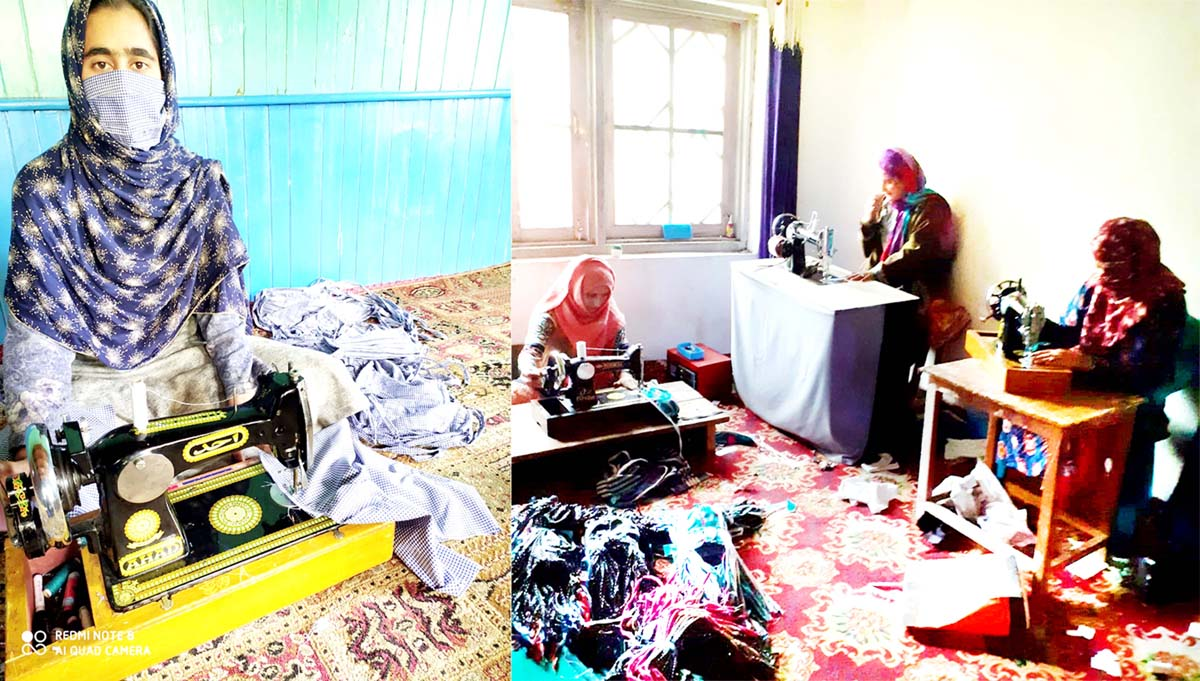 Aasifa-a SHG member (left) and other women of SHG (right) stitching masks in Kupwara district.