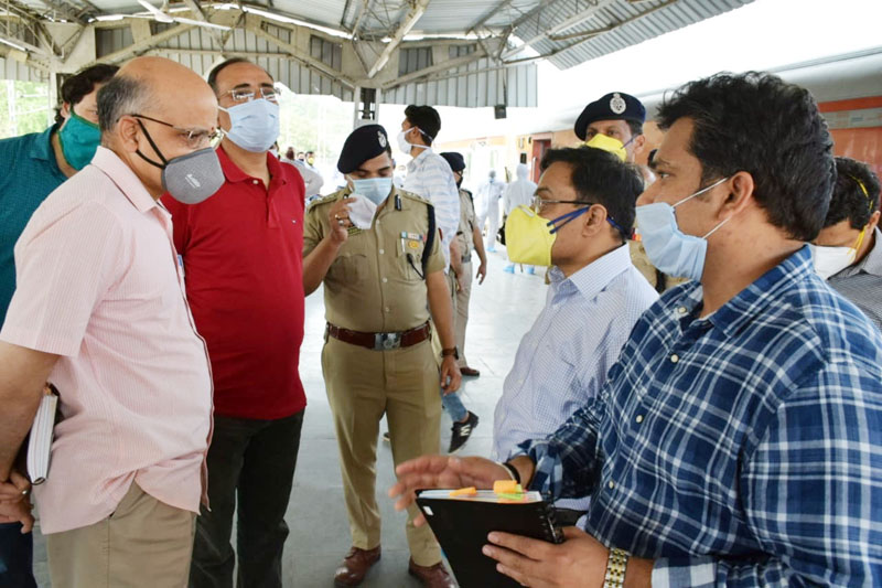 Chief Secretary BVR Subrahmanyam and senior civil and police officers reviewing arrangements at Udhampur Railway Station on Saturday.