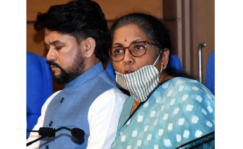 Finance Minister Nirmala Sitharaman briefing newsmen about the economic package announced by Prime Minister Narendra Modi in New Delhi on Wednesday. (UNI)